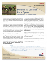 Ivermectin vs. Moxidectin Uses in Equines